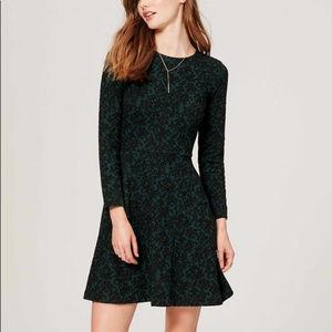 LOFT jacquard long sleeve emerald dress